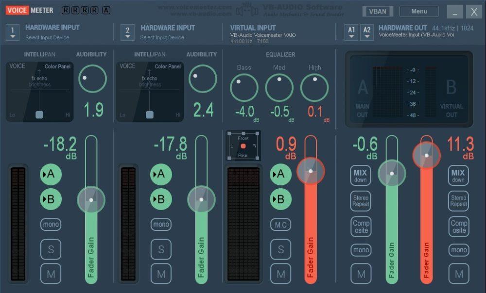 Программа настройки микрофона Voicemeeter Virtual Audio Mixer